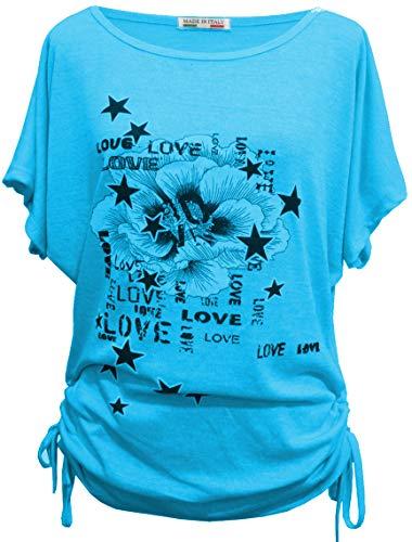 Emma & Giovanni - Sommer T-Shirt/Oberteile Kurzarm - Damen, Blauer Himmel, Medium