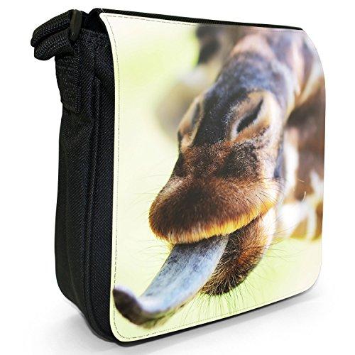 African Giraffe-Borsa a tracolla in tela, piccola, colore: nero, taglia: S Nero (Giraffe With Tongue Out)