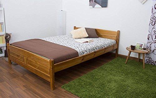 Preisvergleich Produktbild Einzelbett / Gästebett Kiefer Vollholz massiv Eichefarben A13,  inkl. Lattenrost - Abmessung 140 x 200 cm