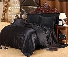 Idea Regalo - HJMTRY Il seta in seta nera di colore quattro pezzi mette i rivestimenti del letto