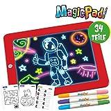 Magic Pad - 34-teilig | Zeichenbrett | 3 Farbstifte mit 6 Neonfarben | 30 Schablonen zum Ausmalen, Zeichnen, Schreiben & Rechnen | Schreibplatte | Maltafel | Das Original aus dem TV