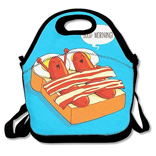 fengxutongxue Lunch Tote Good Morning Sausage Lunch Boxes Lunch Bags Handbag Food Storage Fits for School Travel Work Outdoor