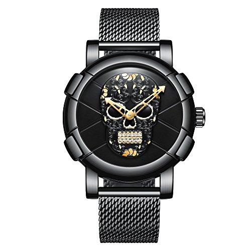Kenon Reloj de malla y acero negro impermeable deportivo de lujo calavera reloj (Mesh negro oro 2)