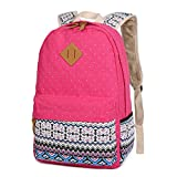 : Cdet 1X Backpack Canvas Unisex Rucksack Bag for Laptop/Notebook/Computer/Book Pink