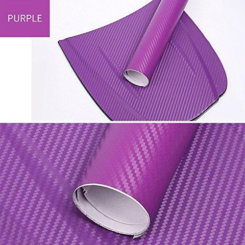 Prom-near 3D Autofolie Carbon Folie Aufkleber Karbonfaser Vinyl Film Auto DIY Decor Aufkleber Wasserdicht Car Stickers (Purple)