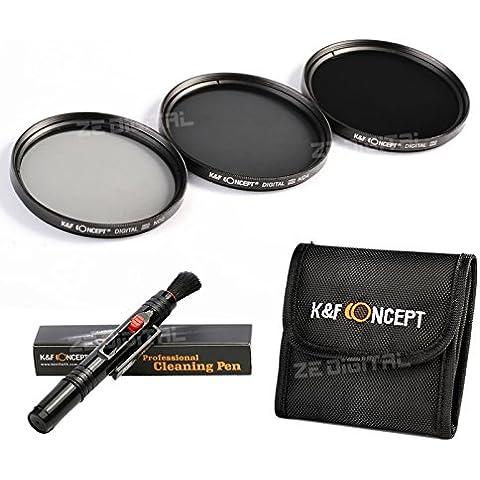 K&F Concept 52mm ND2 ND4 ND8 Filtro Kit de Accessorios de Lente Densidad Neutra Filtro para Nikon D5300 D5200 D5100 D3300 D3200 D3100 DSLR Cámaras + Pluma de Limpieza + Bolsa de