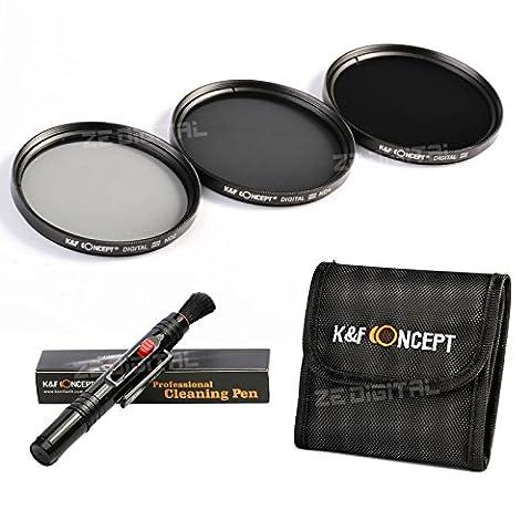K&F Concept 67mm ND2 ND4 ND8 Lens Accessory Filter Kit Netral Density Filter for Canon 7D 700D 600D 70D 60D 650D 550D for Nikon D7100 D80 D90 D7000 D5200 D3200 D5100 D3200 D5300 DSLR Cameras + Cleaning Pen + Filter Bag Pouch