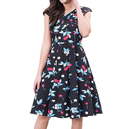 MISSWongg Damen Hepburn Wind Cherry Kleid Midikleid V-Ausschnitt Kleid Retro Cocktailkleid Schwingen Kleid Faltenrock