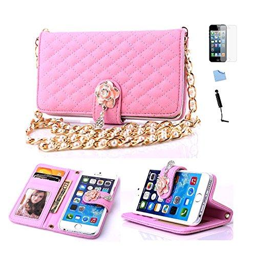 E-Max 4 en 1 Wallet Flip Case Cover Housse Portefeuille Etui Pour Coque Apple iPhone 6 Plus 5.5 Inch , Stylus et Film protecteur inclus, Brun (E03) C04