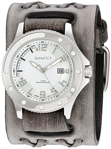 Nemesis Men's 'Sporty Series' Quartz Stainless Steel and Leather Automatic Watch, Color:Black (Model: VDXB105S)