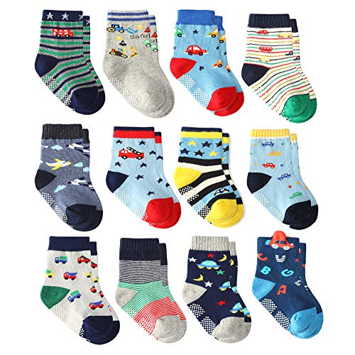 619171fa19a32 12 Pairs Infant Newborn Cotton Socks, Baby Boys Toddler Boy Non Skid Socks  with Grips Little Boy Slipper Socks (12 Pairs Super Star, 18-36 Months)