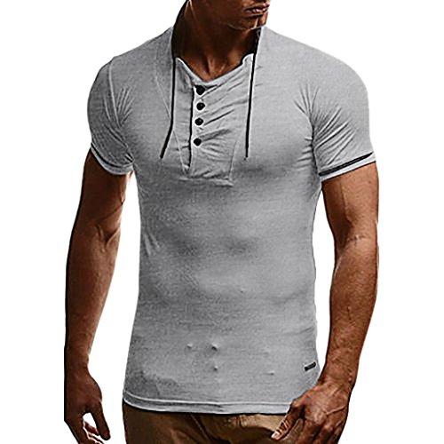 Kanpola Oversize Herren Shirt Slim Fit Rundhals Ausschnitt Basic Sweatshirt Vintage Kurzarm T-Shirt Tee Top