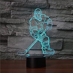 Ahat Illusione Ottica 3D Deco lampada LED Desk luce 7 di notte che Cambiano Colore(Hockey)