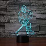 Ahat Romantische 3D Led Illusion Tisch Schreibtisch Deko Lampe 7 Farben ändern Nacht Licht für Schlafzimmer Home Decoration, Hochzeit, Geburtstag, Weihnachten und Valentine Geschenk(Eishockey)
