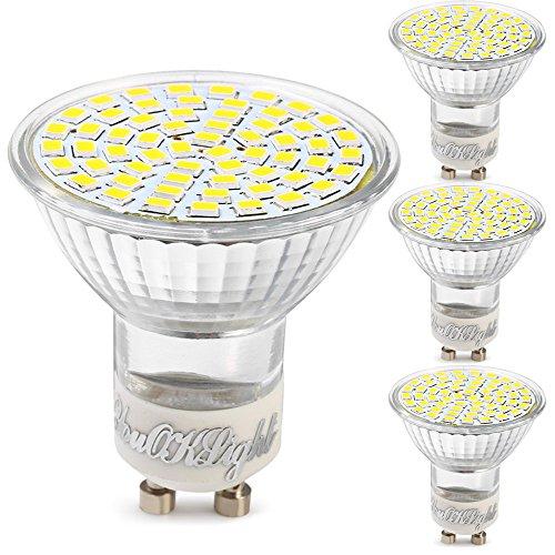 YouOKLight Lot de 4, GU10 3W Ampoules LED 60-LED 3528 SMD 3000K 240lm Blanc Chaud LED Lumière Pour intérieur Éclairage AC 220V