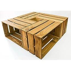 Mesa cajas de madera - 4 cajas más caja central. Incluye ruedas. Cajas Nuevas hechas a mano. Mesa 82x82 cm.
