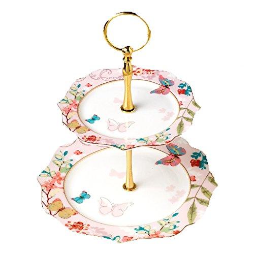 2 plateaux Lace Céramique Pure Hand décalques Gold Candy Plate Cake Frame Fruit Frame