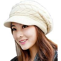 Womens berretto a maglia, caldo inverno cappelli per donna, ragazza Lana da sci con visiera