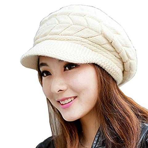 Womens Knit Beanie Hat - Warm Winter Hats for Women - Ladies Girls Wool Snow Ski Caps With Visor Beige
