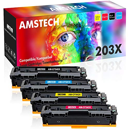 Amstech 4 Pack Kompatibel für HP 203X 203A Toner CF540X-CF543X CF540A für HP Color Laserjet Pro MFP M281fdw Toner HP Color Laserjet Pro M254dw HP M281fdw M281fdn M254nw M254dn M280nw HP MFP M281 -