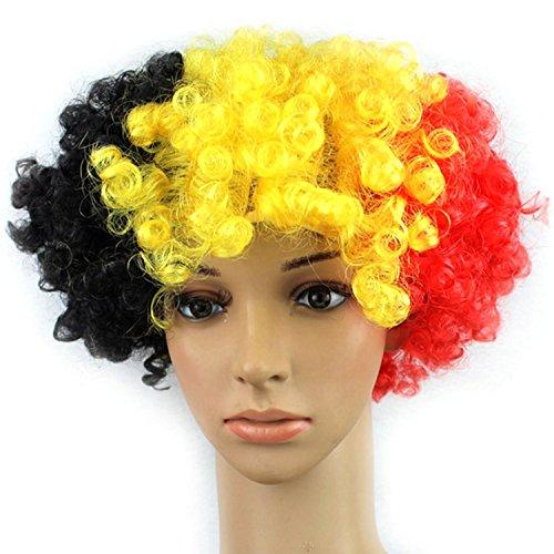 Vococal® Perruque Pelotonner Faux Cheveux Football Fans Halloween Fancy Dress Decorative Drapeau de la Belgique Couleur