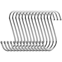 VIPITH 20 Pack Stainless Steel Metal S Shaped Hooks Heavy-duty S Hanging Hooks Hangers with Ball Ends for Spoon Pan Pot Towel in Kitchen Bedroom Bathroom Office