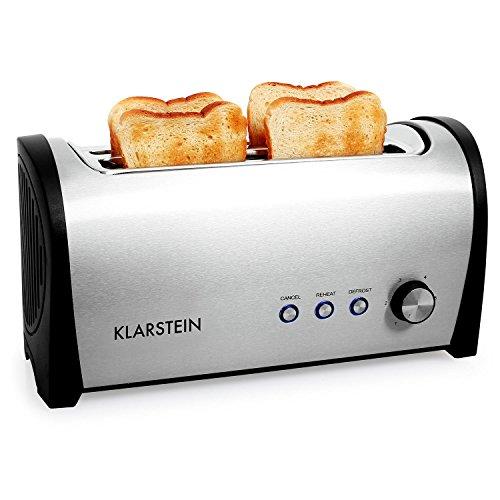 Klarstein Cambridge  Toaster  Doppel-Langschlitz-Toaster  4-Scheiben-Toaster  Edelstahl  Brötchenaufsatz  6-stufig einstellbarer Bräunungsgrad  Auftau-Funktion  Aufwärm-Funktion  Brotlift-Funktion  Abbruch-Taste  1400 Watt  silber