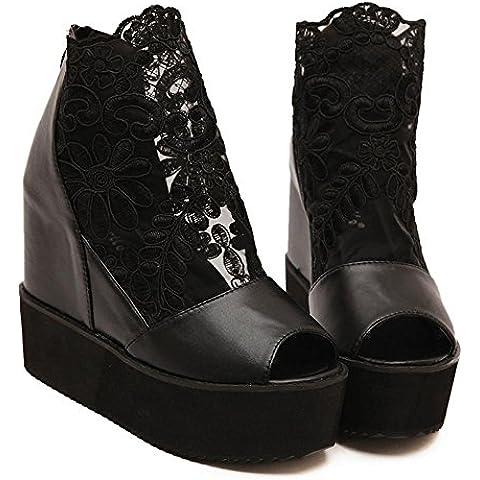 YMXJB Zapatos de gruesa suela de goma tacón de encaje , black , 35