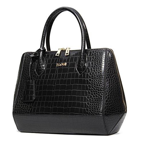 Krokodil-leder Handtasche (Kadell Frauen Krokodil Korn PU Leder Handtaschen Umhängetasche Tote Geldbörse Shell Tasche Schwarz)