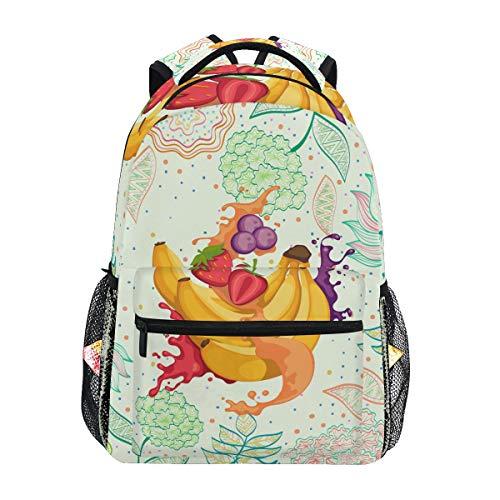 Blütenobst Bananensaft Schulter Student Rucksacks Bookbags Kinderrucksack Büchertasche Rucksäcke für Teen Mädchen Jungs