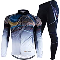 Nuckily Men s Bicycle Jersey Set Long Sleeve Fleece Cycling Jersey With  Pants Suit For Winter 2427f9cb1
