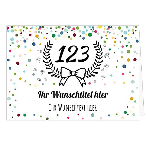 Übergroße XXL Gruß-Karte (Din A4) PERSONALISIERBAR mit Umschlag zum Geburtstag oder Jubiläum, mit Wunsch-Name, Wunsch-Zahl und Wunsch-Titel individualisiert