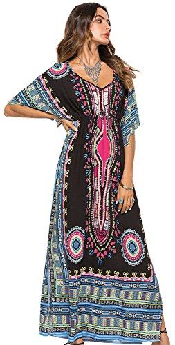 Kimono Ärmel Tiefer V-Ausschnitt Barock Ethnisch Stammes Afrikanische Aztekisch Paisley Langes Lange Lang Long Maxi Maxikleid Ausgestellte A-Linie A-linien Column Kleid Schwarz