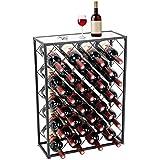 D4P Display4top Botellero con Tablero para 32 Botellas para Vino Estante de Vino con Mesa de Vidrio, Ideal para Bar Bodega de vinos Sótano Gabinete Despensa Despensa Cocina, Negro