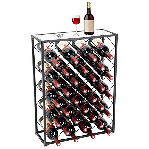 D4P Display4top - Weinregal für 32 Flaschen, mit Glastischplatte,Ideal für Bar Keller Keller Pantry Pantry Küche, schwarz