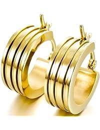 MunkiMix Acero Inoxidable Semental Aro Hoop Huggie Pendientes Oro Dorado Tono Ronda Redonda