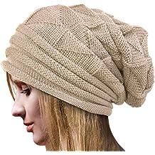 Tuopuda Crochet Invierno Gorro Punto Caliente Cozy Mujeres Grande Sombrero  Moda Diseño de Lana Tejer Beanie 79629977e82