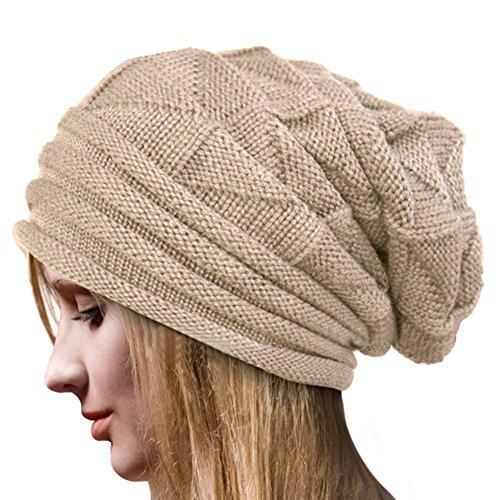 Crochet Invierno Gorro Punto Caliente Cozy Mujeres Grande Sombrero Moda Diseño de Lana Tejer Beanie Warm Caps (Beige)