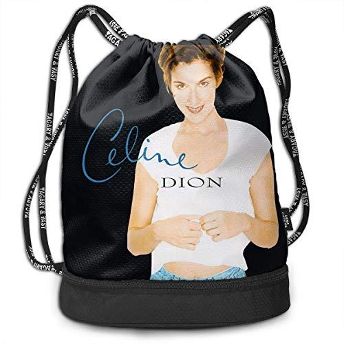 Borse da palestra, Zaini, Men Women Gym Drawstring Backpacks Shoulder Bags Sport Sack Backpack for Sport Yoga Trip, Celine Dion