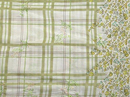 bestickt Grenze Print Baumwolle & Seide Kleid Stoff, Meterware, Grün (Voile Baumwolle Seide Kleid)