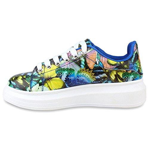 Damen Sneakers Low Bunte Prints Plateau Turnschuhe Freizeit Blau