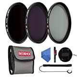 77mm : Beschoi 77mm ND Filter Kit ND2 + ND4 + ND8 Slim Lens Filter Set for DSLR Camera (Included Center Pinch Lens Cap + Cleaning Cloth + Cleaning Pen + Cap Keeper + Filter Pouch)