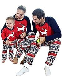 Schlafanzug Weihnachten lang Pyjama Langarm Outfit Mutter Vater Kind Baby Nachtanzug Hausanzug Schlafanzug weich und warm