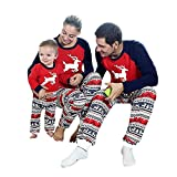 Weihnachten Schlafanzug Familien Outfit Mutter Vater Kind Baby Pajama Langarm Nachtwäsche Deer Print Sleepwear Casual Rundkrage T-Shirt Oberteile Tops+Lang Hose Set 2Pcs von Innerternet