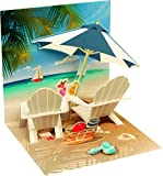Pop UP 3D Karte Urlaub Geburtstag Mini Grußkarte Beach 7,6x7,6cm