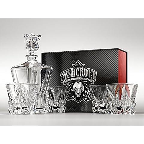 Iceberg Juego de decantador de whisky y vasos de Whisky by Ashcroft Fine Glassware. 5piezas.