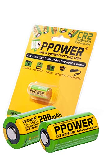 PPOWER CR2 15270 15266 Wiederaufladbare LiFePO4 Akkus, 3 V, echte Kapazität, 200 mAh, 2 Stück - Lithium-batterie-ladegerät Cr2