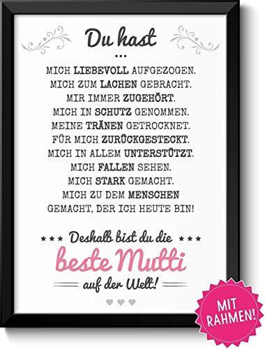 Beste Mama Geschenke Bild mit Rahmen Geschenkidee zum Muttertag Geburtstag Muttertagsgeschenk für Frauen Mamas Mutti Mutter Mum Eltern Danksagung