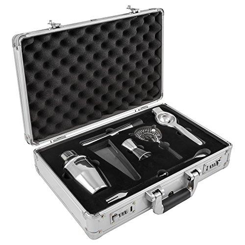 anndora Cocktail Set 7-TLG. Barzubehör Mixer Shaker - Aluminium Koffer Silber