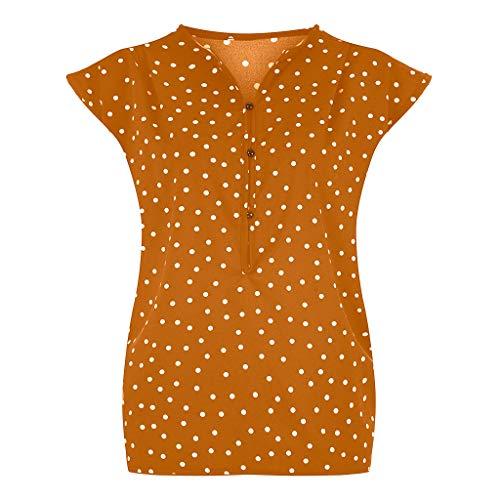 Kviklo Damen Westen Tank T-Shirt Sommer Gepunktet Druck Vintage Cap Kurzarm V-Ausschnitt Half-Button Top
